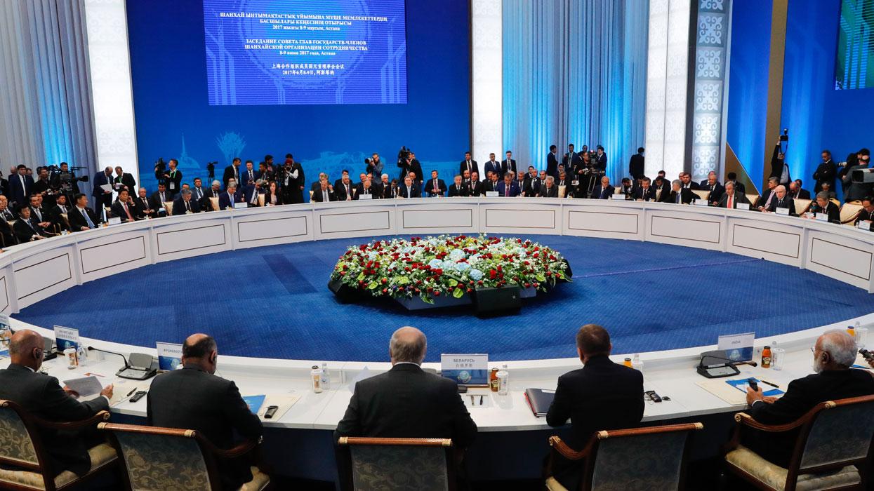 На заседании Совета глав государств - членов Шанхайской организации сотрудничества (ШОС) в расширенном составе.